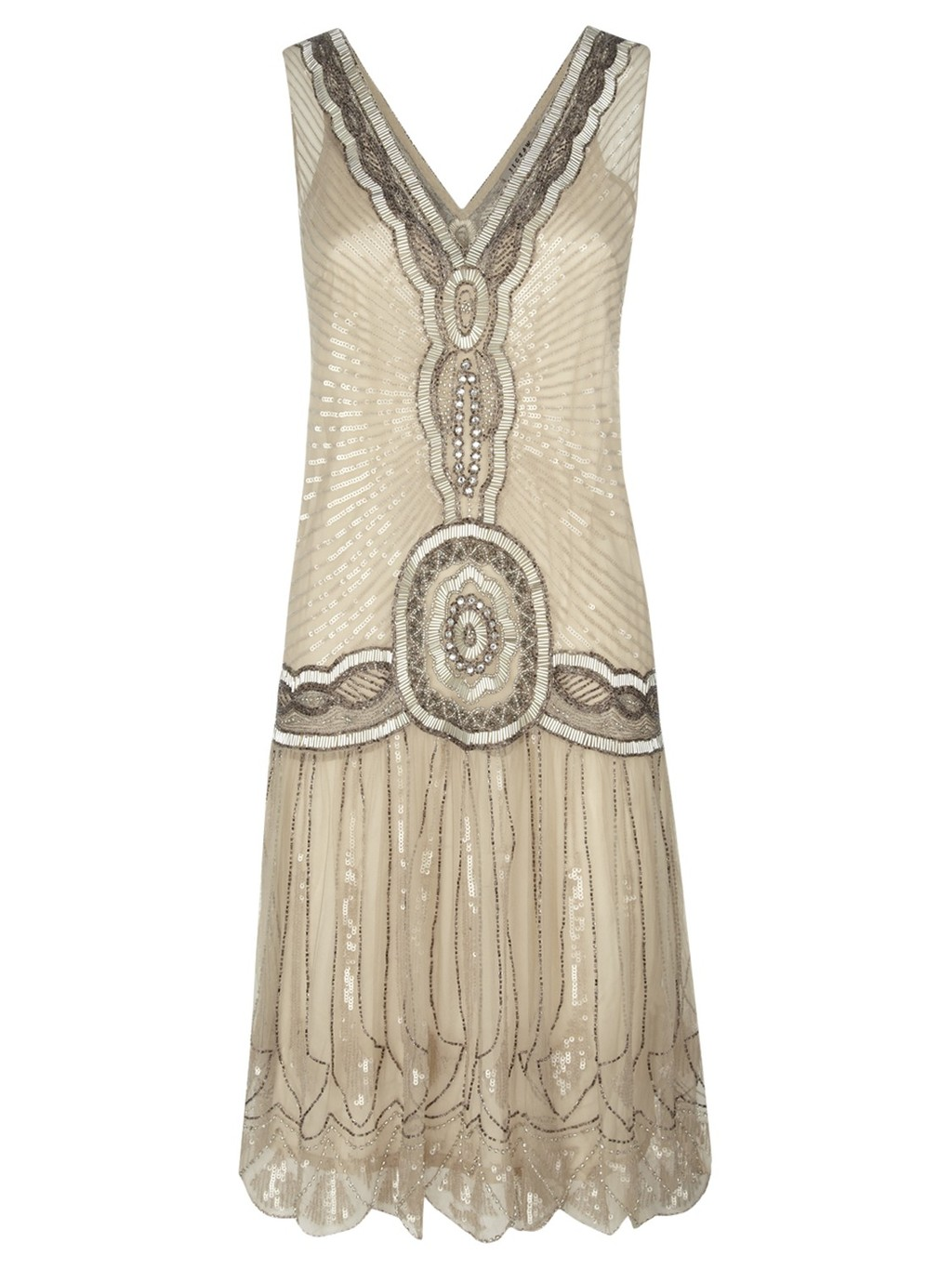 Jigsaw: Sequin Flapper Dress, Oyster (in ivory/cream)