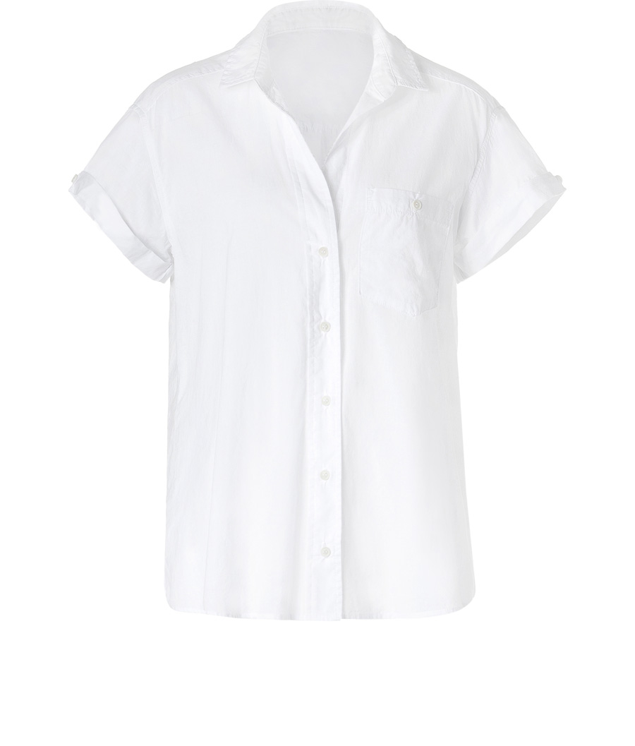 Sugar Camp Top - neckline: shirt collar/peter pan/zip with opening; pattern: plain; style: shirt; bust detail: pocket detail at bust, buttons at bust (in middle at breastbone)/zip detail at bust; predominant colour: white; fibres: cotton - 100%; material texture: jersey; fit: tailored/fitted; sleeve length: short sleeve; sleeve style: standard; pattern type: fabric; pattern size: standard; texture group: jersey - stretchy/drapey