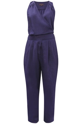Skye Linen Jumpsuit - length: standard; waist detail: fitted waist, structured pleats at waist, belted waist/tie at waist/drawstring; predominant colour: navy; fibres: linen - 100%