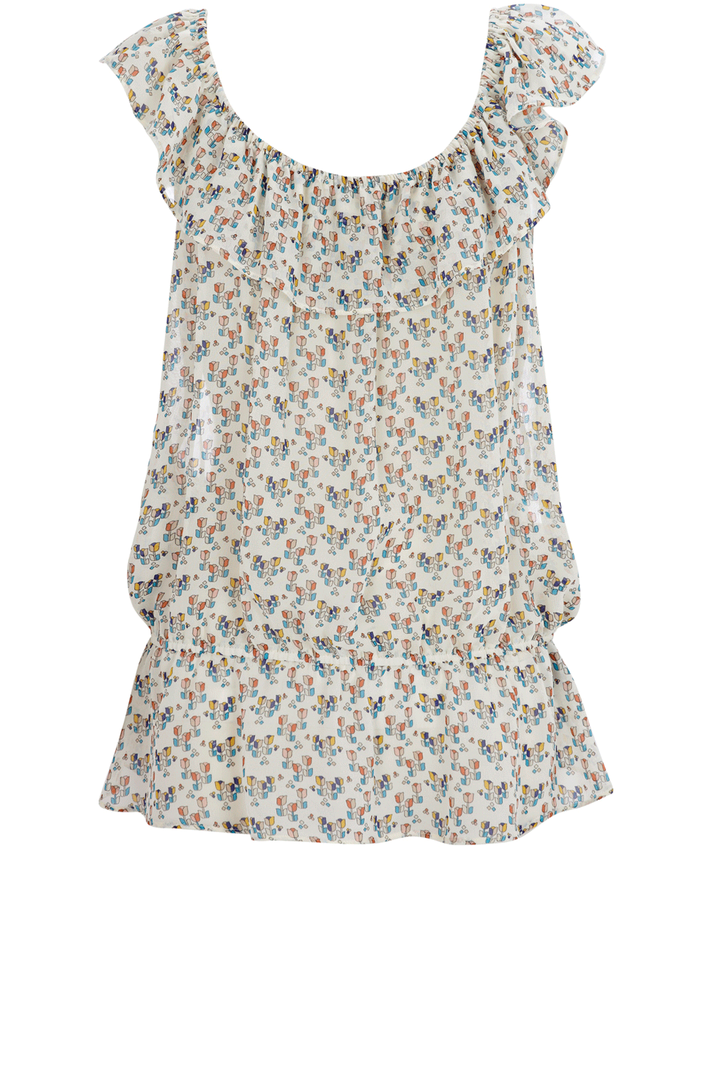 Tulip Print Top - neckline: round neck; sleeve style: sleeveless; pattern: print, floral - light, florals, patterned/print; waist detail: elasticated waist, drop waist; style: blouson; shoulder detail: tiers/frills/ruffles; hip detail: fitted at hip; bust detail: ruching/gathering/draping/layers/pintuck pleats at bust; predominant colour: ivory; occasions: casual; length: standard; trends: prints; fibres: polyester/polyamide - 100%; material texture: jersey; fit: body skimming; sleeve length: sleeveless; pattern type: fabric; pattern size: small & light; texture group: jersey - stretchy/drapey