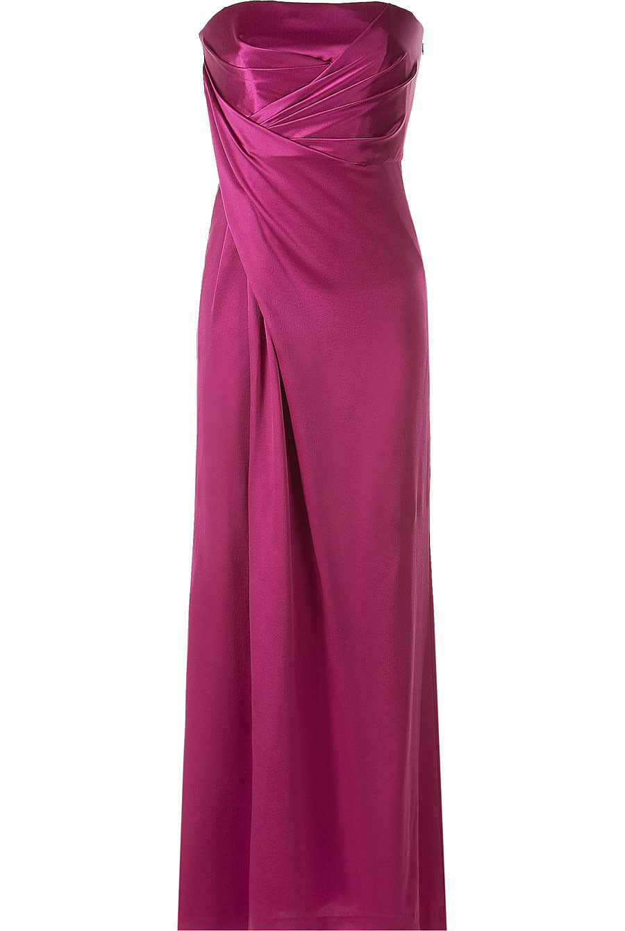 Pink Strapless Gown - neckline: strapless (straight/sweetheart); pattern: plain; style: maxi dress; sleeve style: strapless; waist detail: fitted waist; hip detail: fitted at hip; bust detail: ruching/gathering/draping/layers/pintuck pleats at bust; predominant colour: hot pink; occasions: evening, occasion; length: floor length; fit: body skimming; fibres: silk - 100%; material texture: satin; sleeve length: sleeveless; texture group: structured shiny - satin/tafetta/silk etc.; pattern type: fabric; pattern size: standard