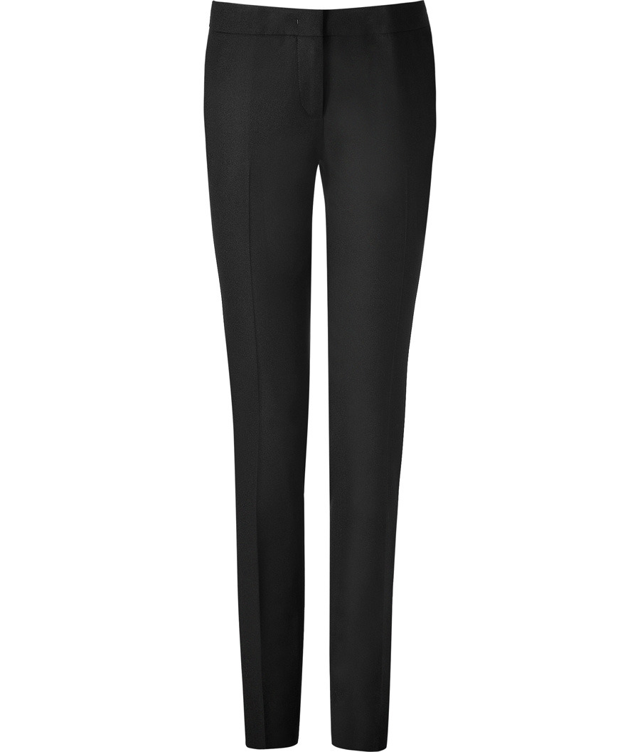 Black Slim Leg Pants - length: standard; pocket detail: small back pockets; waist: mid/regular rise; predominant colour: black; occasions: evening, work; fibres: wool - stretch; waist detail: narrow waistband; fit: skinny/tight leg; style: standard