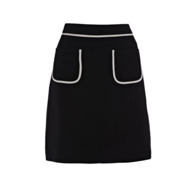 Black Linen A Line Skirt - length: mid thigh; pattern: plain; fit: loose/voluminous; hip detail: front pockets at hip; waist: high rise; predominant colour: black; occasions: casual, work; style: a-line; fibres: linen - mix; pattern type: fabric; pattern size: standard