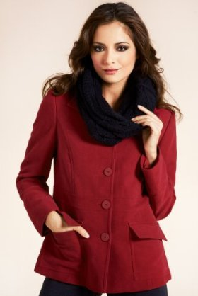 Per Una Pure Cotton Single Breasted Jacket With Snood Scarf - pattern: plain; style: single breasted blazer; hip detail: front pockets at hip; collar: high neck; predominant colour: true red; occasions: casual, work; length: standard; fit: tailored/fitted; trends: masculine tailoring, red; fibres: cotton - 100%; sleeve length: long sleeve; sleeve style: standard; collar break: high; pattern type: fabric; pattern size: standard