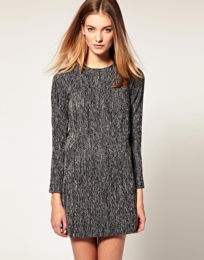 Simple Tweed Shift Dress - style: shift; length: mid thigh; neckline: round neck; pattern: herringbone/tweed, tweed; predominant colour: mid grey; occasions: casual; fit: straight cut; fibres: cotton - mix; sleeve length: long sleeve; sleeve style: standard; pattern type: fabric; pattern size: standard