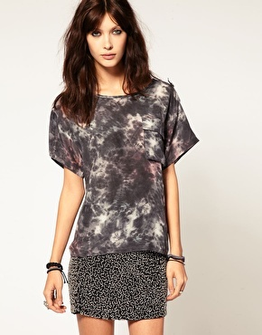 Dark Tie Dye Print Silk Top - neckline: round neck; style: t-shirt; pattern: tie dye; predominant colour: charcoal; occasions: casual, evening; length: standard; fibres: silk - 100%; material texture: jersey; fit: body skimming; sleeve length: short sleeve; sleeve style: standard; pattern type: fabric; pattern size: standard; texture group: jersey - stretchy/drapey