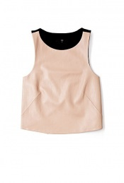 Blush Leather Front Cutaway Back Tank Top - pattern: plain; sleeve style: sleeveless; length: cropped; back detail: contrast pattern/fabric at back, shorter hem at back than at front; predominant colour: blush; occasions: casual, evening, work; style: top; neckline: scoop; fibres: leather - 100%; trends: colour blocking; fit: straight cut; sleeve length: sleeveless; pattern type: fabric; pattern size: standard