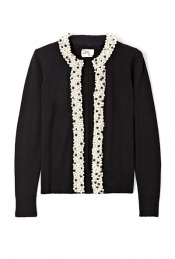 Black Pearl Trim Cardigan - neckline: round neck; pattern: plain; bust detail: added detail/embellishment at bust; style: open front; predominant colour: black; occasions: casual, evening, work; length: standard; trends: forties, knitwear; fibres: wool - 100%; fit: standard fit; sleeve length: long sleeve; sleeve style: standard; pattern type: knitted - other; pattern size: small & light; embellishment: beading