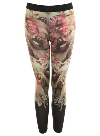 Feather Floral Legging - length: standard; style: leggings; waist detail: elasticated waist, narrow waistband; waist: mid/regular rise; predominant colour: taupe; occasions: casual; trends: trousers, prints; fibres: polyester/polyamide - stretch; hip detail: fitted at hip (bottoms); fit: skinny/tight leg
