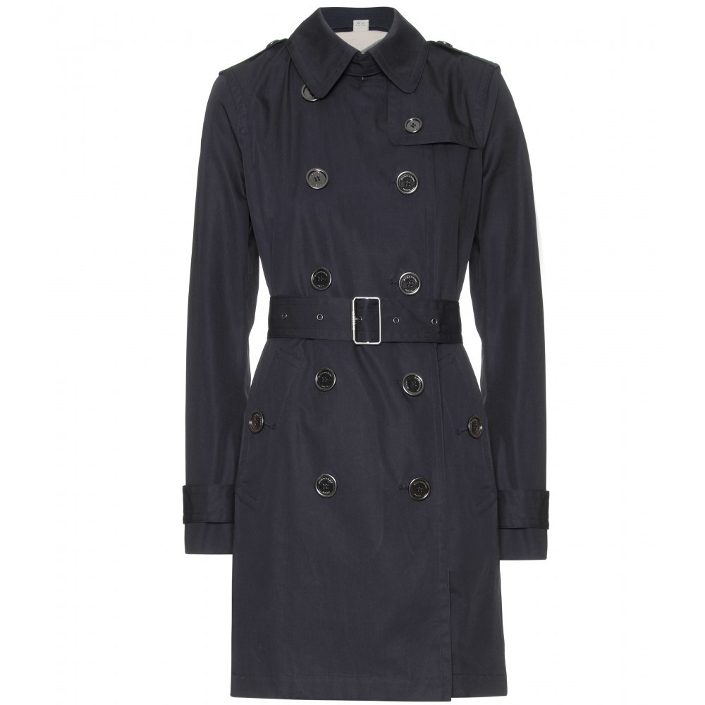 Balmoral Trench Coat - pattern: plain; hip detail: side pockets at hip; style: trench coat; length: on the knee; collar: standard lapel/rever collar; predominant colour: navy; occasions: casual, evening, work; fit: tailored/fitted; fibres: cotton - 100%; waist detail: belted waist/tie at waist/drawstring; shoulder detail: discreet epaulette; sleeve length: long sleeve; sleeve style: standard; collar break: medium; pattern type: fabric; pattern size: standard