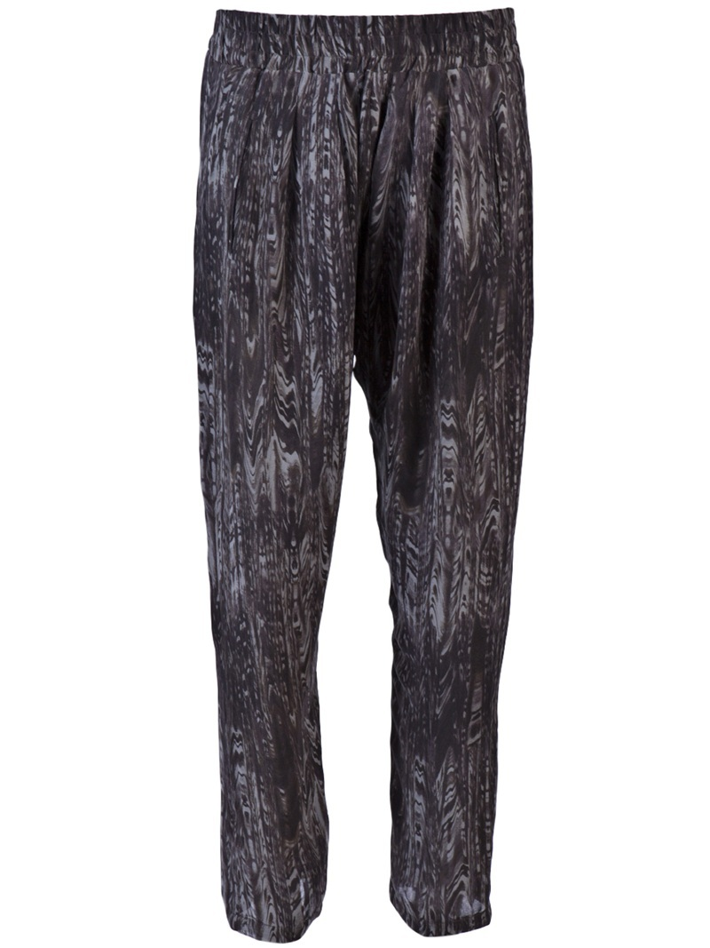 Floride Trouser - length: standard; waist detail: elasticated waist, narrow waistband; waist: mid/regular rise; predominant colour: charcoal; occasions: casual; trends: prints; fibres: silk - 100%; fit: tapered; style: standard