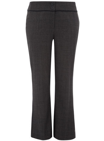 Grey Textured Bootcut Trousers - waist detail: fitted waist, wide waistband/cummerbund, narrow waistband; waist: high rise; predominant colour: charcoal; occasions: casual, work; length: ankle length; trends: trousers; fibres: polyester/polyamide - 100%; hip detail: fitted at hip (bottoms); fit: bootcut; style: standard