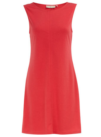 Coral Shift Dress - style: shift; length: mid thigh; neckline: round neck; pattern: plain; sleeve style: sleeveless; waist detail: fitted waist; predominant colour: coral; occasions: casual, work; fit: soft a-line; trends: sixties; fibres: polyester/polyamide - stretch; material texture: jersey; sleeve length: sleeveless; pattern type: fabric; pattern size: standard; texture group: jersey - stretchy/drapey