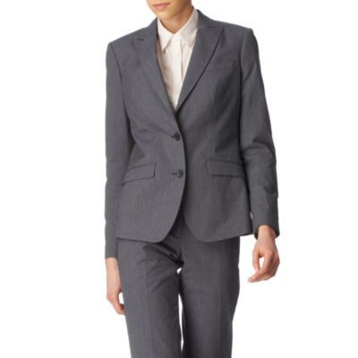 Cotton Blend Blazer - pattern: plain; style: single breasted blazer; shoulder detail: shoulder pads; hip detail: front pockets at hip; collar: standard lapel/rever collar; bust detail: buttons at bust (in middle at breastbone)/zip detail at bust; predominant colour: mid grey; occasions: casual, work; length: standard; fit: tailored/fitted; trends: masculine tailoring; fibres: cotton - mix; sleeve length: long sleeve; sleeve style: standard; collar break: medium; pattern type: fabric; pattern size: standard