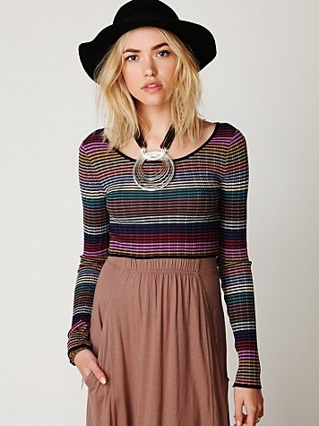 Cropped Stripes Pullover - neckline: scoop neck; pattern: horizontal stripes, vertical stripes; style: standard; occasions: casual; length: standard; trends: knitwear; fibres: cotton - mix; fit: slim fit; waist detail: fitted waist; predominant colour: multicoloured; sleeve length: long sleeve; sleeve style: standard; pattern type: knitted - other; pattern size: standard
