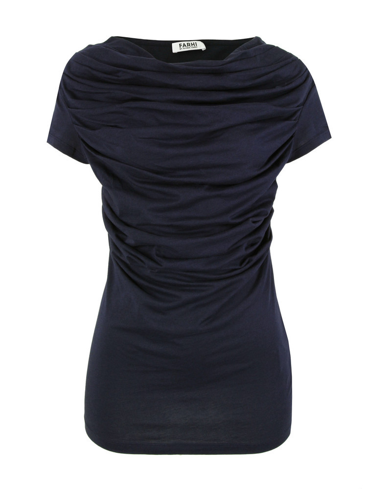 New For Ss12   D6 Av7 Navy Sheer Drape T Shirt - neckline: slash/boat neckline; pattern: plain; style: t-shirt; shoulder detail: tiers/frills/ruffles; bust detail: ruching/gathering/draping/layers/pintuck pleats at bust; predominant colour: navy; occasions: casual, evening; length: standard; fibres: cotton - 100%; fit: tailored/fitted; sleeve length: short sleeve; sleeve style: standard; pattern type: fabric; pattern size: standard