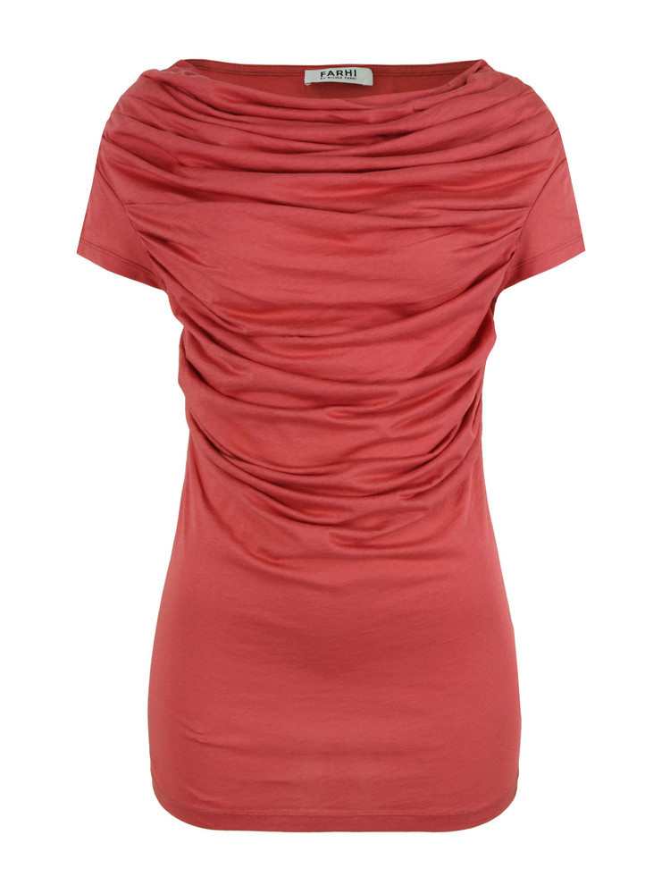 New For Ss12   D6 Av7 Raspberry Sheer Drape T Shirt - neckline: slash/boat neckline; pattern: plain; style: t-shirt; shoulder detail: tiers/frills/ruffles; bust detail: ruching/gathering/draping/layers/pintuck pleats at bust; predominant colour: terracotta; occasions: casual, evening; length: standard; fibres: cotton - 100%; fit: tailored/fitted; sleeve length: short sleeve; sleeve style: standard; pattern type: fabric; pattern size: standard
