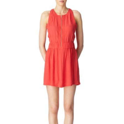 Buena Tennis Dress - length: mini; neckline: round neck; fit: fitted at waist; pattern: plain; sleeve style: sleeveless; bust detail: added detail/embellishment at bust, buttons at bust (in middle at breastbone)/zip detail at bust; waist detail: elasticated waist, fitted waist; predominant colour: bright orange; occasions: casual, evening; style: fit &amp; flare; fibres: polyester/polyamide - 100%; hip detail: soft pleats at hip/draping at hip/flared at hip; trends: sports luxe, brights; sleeve length: sleeveless; pattern type: fabric; pattern size: standard