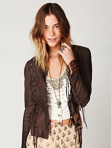 Lace Up Leather Jacket - style: single breasted blazer; collar: shawl/waterfall; fit: slim fit; predominant colour: chocolate brown; occasions: casual; length: standard; fibres: leather - 100%; material texture: lace; sleeve length: long sleeve; sleeve style: standard; texture group: lace; pattern type: fabric; pattern size: small & light; embellishment: beading