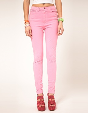 Coloured High Waist Jeans - style: skinny leg; length: standard; pattern: plain; pocket detail: traditional 5 pocket; waist: mid/regular rise; predominant colour: pink; occasions: casual; fibres: cotton - stretch; material texture: denim; texture group: denim; pattern type: fabric; pattern size: standard