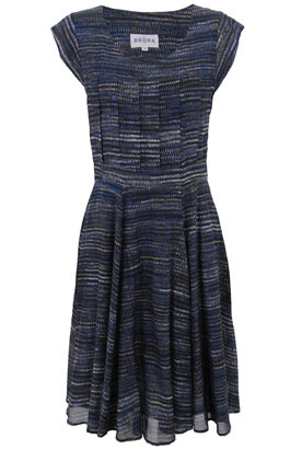 Grey &amp; Blue Pleated Front Silk Cotton Dress - sleeve style: capped; fit: fitted at waist; pattern: lightly patterned, striped, abstract, patterned/print; waist detail: fitted waist, twist front waist detail/nipped in at waist on one side/soft pleats/draping/ruching/gathering waist detail; bust detail: ruching/gathering/draping/layers/pintuck pleats at bust; predominant colour: navy; occasions: casual, work; length: on the knee; style: fit &amp; flare; neckline: scoop; fibres: silk - mix; hip detail: soft pleats at hip/draping at hip/flared at hip, sculpting darts/pleats/seams at hip; trends: prints; sleeve length: short sleeve; pattern type: fabric; pattern size: small &amp; light