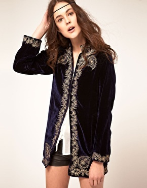 'Sweet Sargeant' Velvet Embroidered Jacket - pattern: plain; style: single breasted blazer; bust detail: added detail/embellishment at bust; collar: mandarin; length: below the bottom; predominant colour: royal blue; occasions: casual, occasion; fit: straight cut (boxy); fibres: silk - 100%; material texture: velvet; hip detail: added detail/embellishment at hip; sleeve length: long sleeve; sleeve style: standard; texture group: corduroy; collar break: high; pattern type: fabric; pattern size: standard; embellishment: embroidered