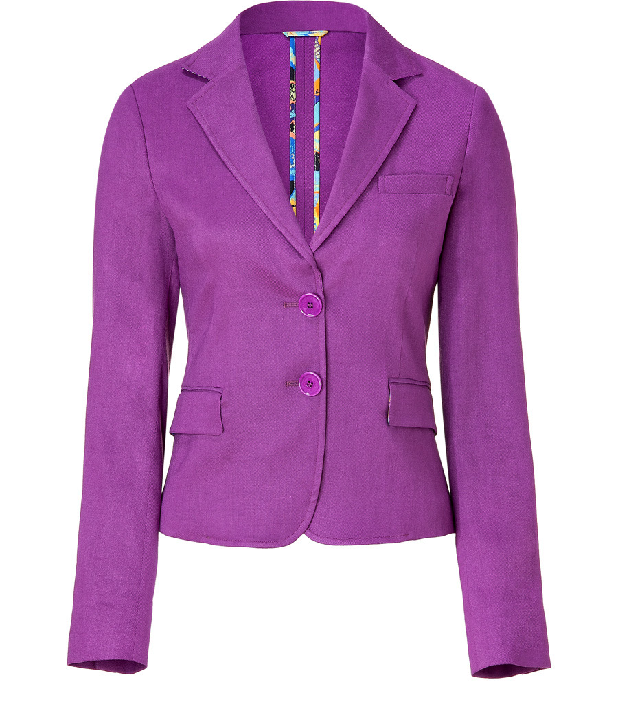 Lilac Classic Short Jacket - pattern: plain; shoulder detail: shoulder pads; bust detail: added detail/embellishment at bust; hip detail: side pockets at hip; style: tailored/fitted; collar: standard lapel/rever collar; predominant colour: purple; occasions: casual, evening, work; length: standard; fit: tailored/fitted; fibres: linen - mix; material texture: lace; waist detail: fitted waist; trends: brights; sleeve length: long sleeve; sleeve style: standard; texture group: lace; pattern type: fabric; pattern size: standard