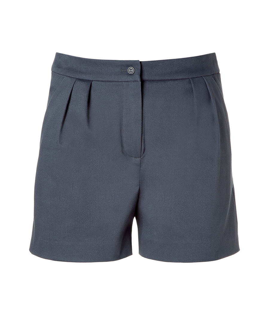 Grey Shorts - style: shorts; waist detail: fitted waist, narrow waistband; waist: high rise; pocket detail: pockets at the sides; length: short shorts; predominant colour: charcoal; occasions: casual, evening; fibres: cotton - mix; hip detail: front pleats at hip level; fit: straight leg