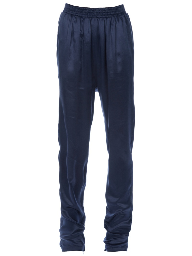Relaxed Trouser - length: standard; waist detail: elasticated waist, fitted waist; waist: mid/regular rise; predominant colour: navy; occasions: casual, evening; fibres: silk - 100%; fit: tapered; style: standard