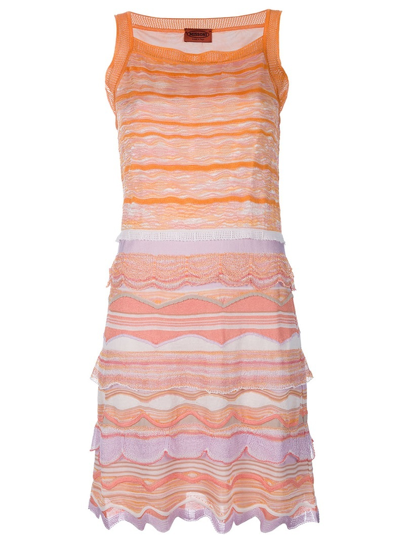 Sleeveless Dress - neckline: round neck; pattern: heavily patterned, striped, patterned/print; sleeve style: sleeveless; style: vest; predominant colour: bright orange; occasions: casual, evening, work; length: just above the knee; fit: body skimming; fibres: cotton - mix; hip detail: ruching/gathering at hip; trends: prints; sleeve length: sleeveless; pattern type: fabric; pattern size: big & busy