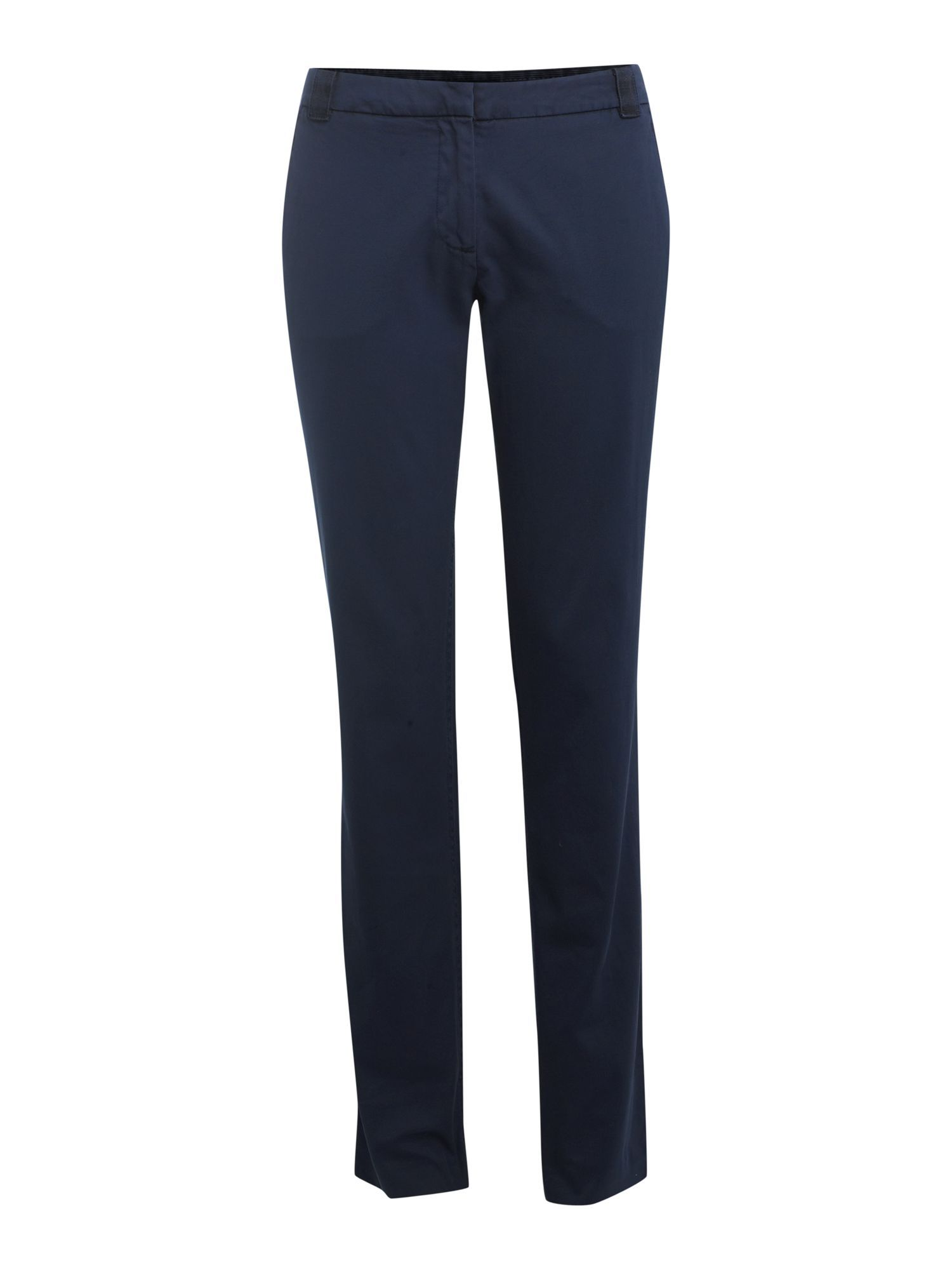 Women&#x27;s Twill Rome Signature Chino, Blue - length: standard; pocket detail: small back pockets, pockets at the sides; waist detail: belted waist/tie at waist/drawstring; waist: mid/regular rise; predominant colour: navy; occasions: casual, work; style: chino; trends: trousers; fibres: cotton - 100%; fit: slim leg