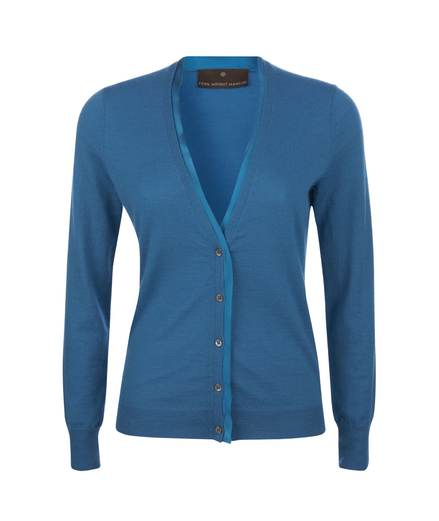 Women's Merino Silk Trim Cardi, Lagoon - neckline: v-neck; pattern: plain; bust detail: buttons at bust (in middle at breastbone)/zip detail at bust; predominant colour: royal blue; occasions: casual; length: standard; style: standard; trends: knitwear; fibres: wool - 100%; fit: standard fit; sleeve length: long sleeve; sleeve style: standard; pattern type: knitted - other; pattern size: standard