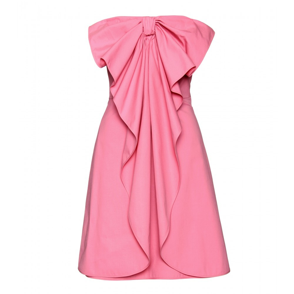 Strapless Bow Dress - neckline: strapless (straight/sweetheart); fit: tailored/fitted; pattern: plain; sleeve style: strapless; style: strapless; bust detail: ruching/gathering/draping/layers/pintuck pleats at bust; predominant colour: pink; occasions: evening, occasion; length: just above the knee; trends: evening wear; fibres: cotton - stretch; sleeve length: sleeveless; pattern type: fabric; pattern size: standard