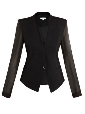 Silk Sleeve Jacket - pattern: plain; shoulder detail: shoulder pads; collar: shawl/waterfall; hip detail: front pockets at hip; style: tailored/fitted; predominant colour: black; occasions: casual, evening, work, occasion; length: standard; fit: tailored/fitted; trends: masculine tailoring, evening wear; fibres: wool - mix; material texture: lace; waist detail: fitted waist; sleeve length: long sleeve; sleeve style: standard; texture group: lace; pattern type: fabric; pattern size: standard