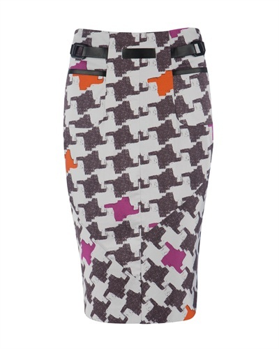 Ted Baker   Muliz   Dogtooth Pencil Skirt - pattern: print, dogtooth, patterned/print; style: pencil; fit: tailored/fitted; waist detail: fitted waist, belted waist/tie at waist/drawstring; hip detail: front pockets at hip, fitted at hip; waist: mid/regular rise; predominant colour: white; occasions: casual, evening, work; length: on the knee; fibres: cotton - stretch; material texture: jersey; trends: 1950's, prints; pattern type: fabric; pattern size: standard; texture group: jersey - stretchy/drapey