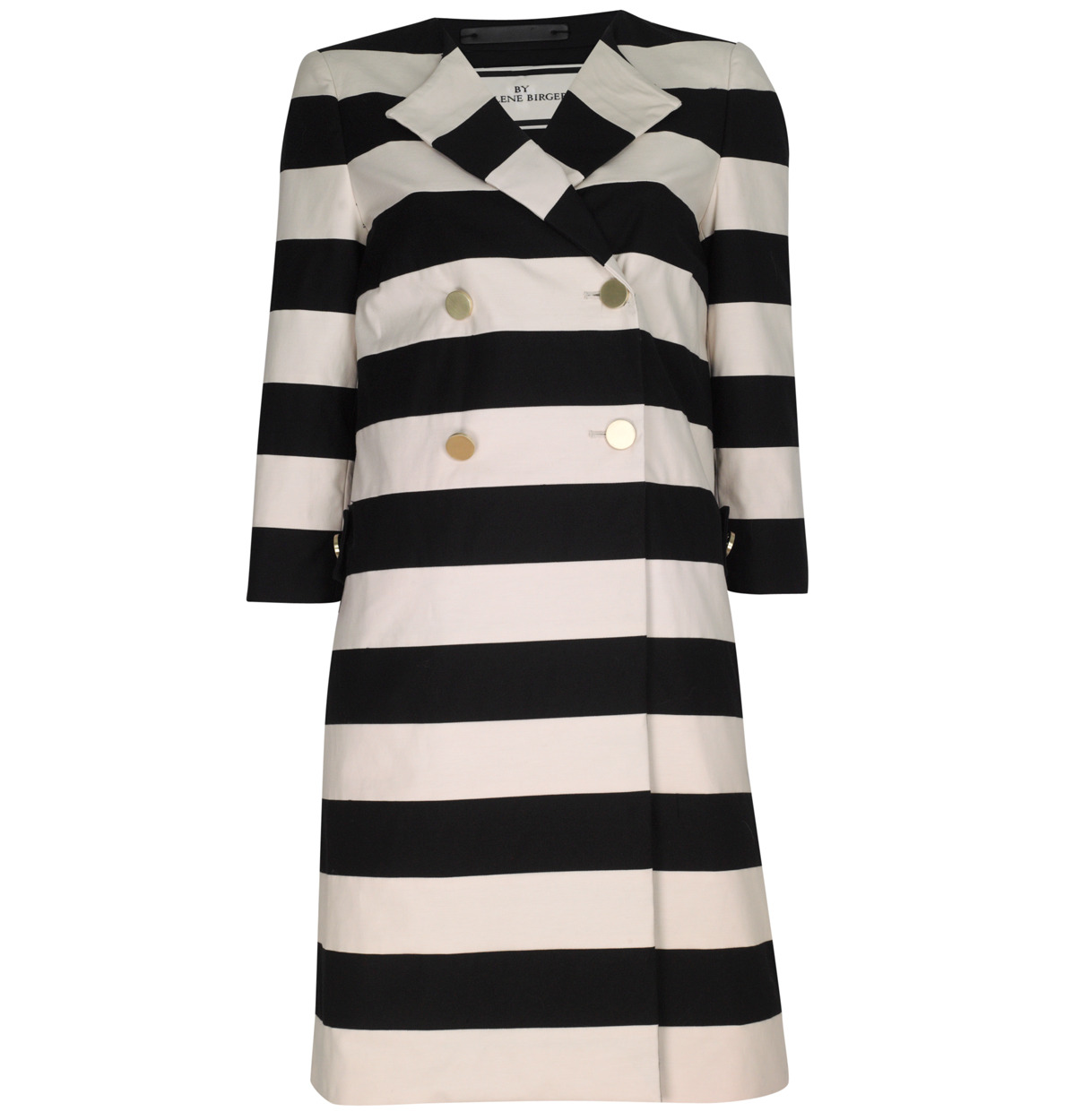 Salerna Striped Cotton Blend Coat - pattern: horizontal stripes, heavily patterned, vertical stripes, monochrome, patterned/print; bust detail: added detail/embellishment at bust; style: double breasted; length: on the knee; collar: standard lapel/rever collar; predominant colour: black; occasions: casual, evening, work, occasion; fit: straight cut (boxy); trends: prints; fibres: cotton - mix; material texture: jersey; hip detail: contrast fabric/print detail at hip; waist detail: fitted waist, belted waist/tie at waist/drawstring; back detail: embellishment at back; sleeve length: 3/4 length; sleeve style: standard; collar break: medium; pattern type: fabric; pattern size: big &amp; busy; texture group: jersey - stretchy/drapey
