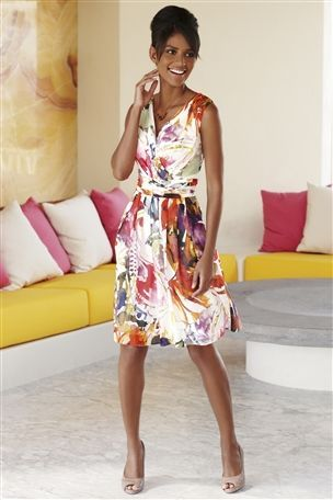 Watercolour Print Dress - style: shift; neckline: low v-neck; pattern: floral - busy, print, abstract, florals, patterned/print; sleeve style: sleeveless; waist detail: fitted waist, wide waistband/cummerbund, twist front waist detail/nipped in at waist on one side/soft pleats/draping/ruching/gathering waist detail; bust detail: ruching/gathering/draping/layers/pintuck pleats at bust; predominant colour: white; occasions: casual, evening, occasion; length: on the knee; fit: body skimming; trends: pleats, prints; fibres: cotton - 100%; hip detail: soft pleats at hip/draping at hip/flared at hip; sleeve length: sleeveless; pattern type: fabric; pattern size: small & busy