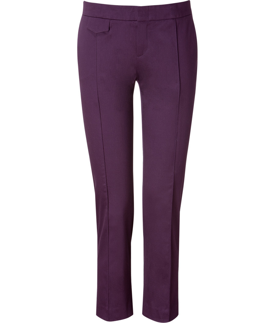Deep Purple Pants - pocket detail: pockets at the sides; waist: mid/regular rise; predominant colour: aubergine; occasions: work; length: calf length; fibres: cotton - stretch; fit: straight leg; style: standard
