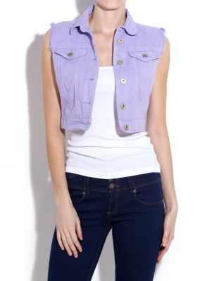 Cropped Coloured Denim Jacket - pattern: plain; sleeve style: sleeveless; length: cropped; style: denim; collar: standard lapel/rever collar; predominant colour: lilac; occasions: casual; fit: straight cut (boxy); fibres: cotton - 100%; material texture: denim; trends: brights; sleeve length: sleeveless; texture group: denim; collar break: medium; pattern type: fabric; pattern size: standard