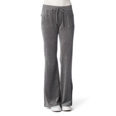 Velour Jogging Bottoms - length: standard; hip detail: front pockets at hip; waist detail: belted waist/tie at waist/drawstring, narrow waistband; waist: mid/regular rise; predominant colour: mid grey; occasions: casual; fibres: cotton - mix; fit: straight leg; style: standard
