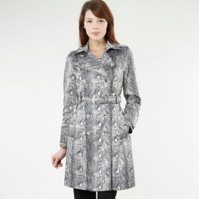 Natural Snake Print Mac - hip detail: side pockets at hip; style: mac; pattern: big animal print, animal print; collar: standard lapel/rever collar; length: mid thigh; predominant colour: mid grey; occasions: casual; fit: straight cut (boxy); fibres: cotton - mix; waist detail: belted waist/tie at waist/drawstring; trends: prints; sleeve length: long sleeve; sleeve style: standard; collar break: medium; pattern type: fabric; pattern size: big &amp; busy