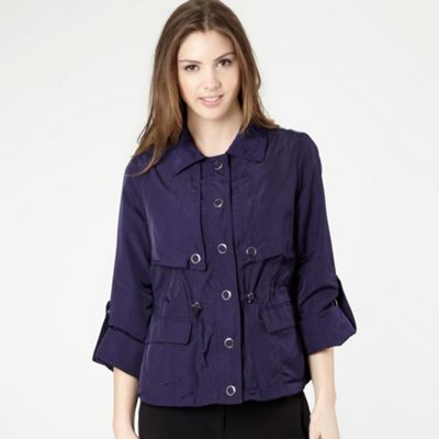 Purple Short Drawstring Jacket - pattern: plain; collar: round collar/collarless; style: tailored/fitted; predominant colour: indigo; occasions: casual; length: standard; fit: tailored/fitted; fibres: polyester/polyamide - 100%; sleeve length: long sleeve; sleeve style: standard; collar break: high; pattern type: fabric; pattern size: standard