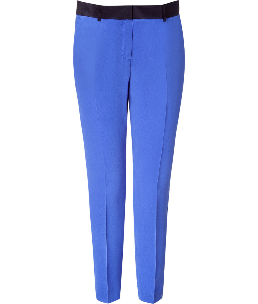 Royal Blue Silk Pants - waist detail: fitted waist, wide waistband/cummerbund, narrow waistband; pocket detail: small back pockets, pockets at the sides; waist: mid/regular rise; predominant colour: royal blue; occasions: evening, work, occasion; length: calf length; fibres: silk - 100%; trends: aquatic, brights; fit: tapered; style: standard