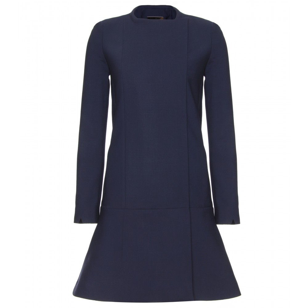 Collarless Wool Coat - pattern: plain; shoulder detail: shoulder pads; collar: round collar/collarless; style: single breasted; fit: slim fit; length: mid thigh; predominant colour: navy; occasions: casual, work, occasion; fibres: wool - mix; waist detail: fitted waist; sleeve length: long sleeve; sleeve style: standard; collar break: high; pattern type: fabric; pattern size: standard