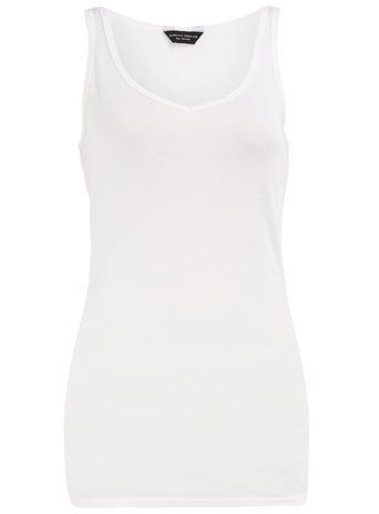 White V Neck Vest - neckline: v-neck; pattern: plain; sleeve style: sleeveless; waist detail: fitted waist; style: vest top; hip detail: fitted at hip; predominant colour: white; occasions: casual; length: standard; fibres: cotton - 100%; material texture: jersey; fit: body skimming; sleeve length: sleeveless; pattern type: fabric; pattern size: standard; texture group: jersey - stretchy/drapey