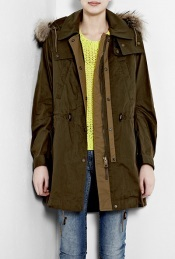 Olive Green Parka Coat - pattern: plain; length: below the bottom; shoulder detail: obvious epaulette, added shoulder detail; bust detail: added detail/embellishment at bust; hip detail: side pockets at hip, front pockets at hip; fit: loose; style: parka; back detail: hood; collar: hooded with opening; predominant colour: khaki; occasions: casual; trends: masculine tailoring, heritage; fibres: viscose/rayon - 100%; material texture: calico; waist detail: belted waist/tie at waist/drawstring; sleeve length: long sleeve; sleeve style: standard; texture group: cotton feel fabrics; pattern type: fabric; pattern size: standard