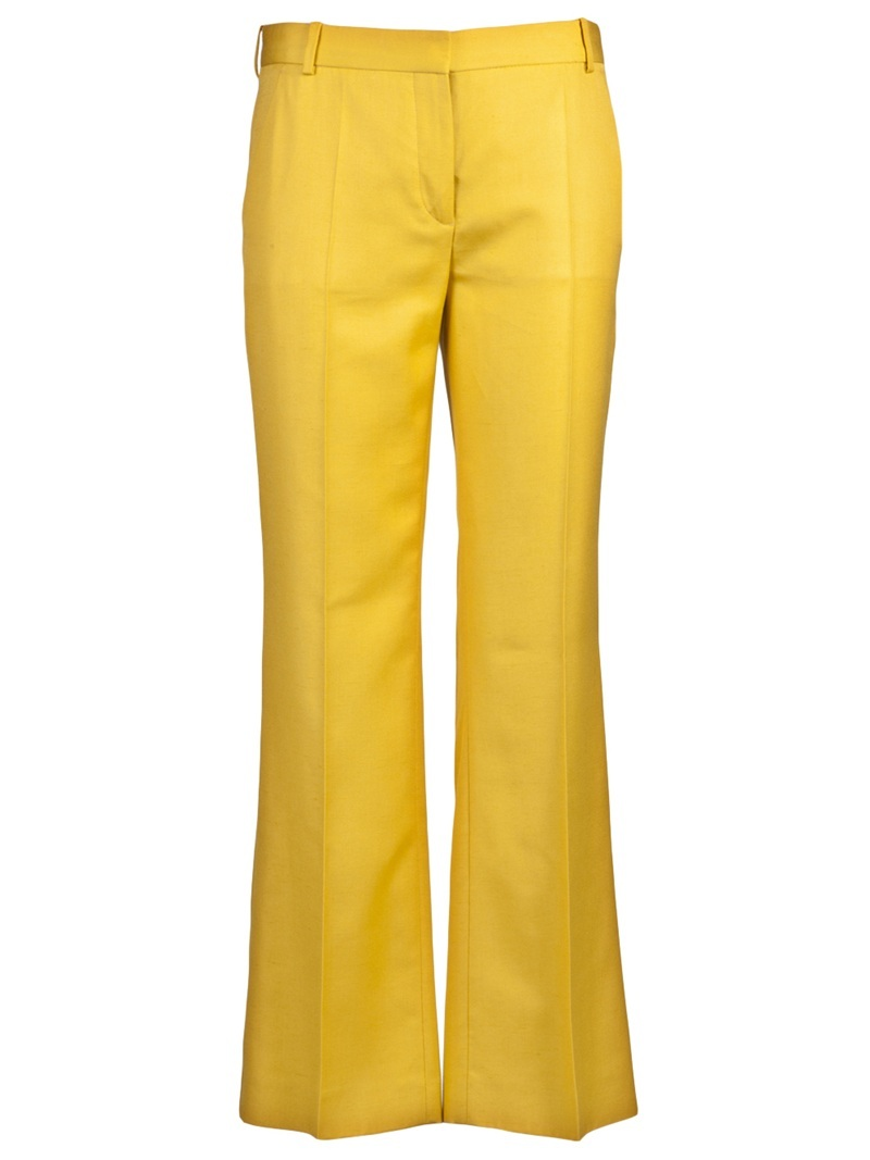 Slub Suiting Trouser - length: standard; waist detail: fitted waist, narrow waistband; pocket detail: small back pockets, pockets at the sides; waist: mid/regular rise; predominant colour: yellow; occasions: casual, evening, work; fibres: polyester/polyamide - 100%; material texture: jersey; hip detail: fitted at hip (bottoms); trends: brights; fit: bootcut; texture group: jersey - stretchy/drapey; style: standard