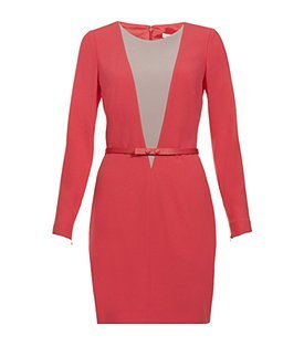 Illusion Belted Dress - length: mid thigh; neckline: round neck; fit: tight; pattern: plain; style: bodycon; waist detail: fitted waist, belted waist/tie at waist/drawstring; hip detail: fitted at hip; predominant colour: true red; occasions: evening, work; fibres: polyester/polyamide - 100%; bust detail: contrast pattern/fabric/detail at bust; trends: brights; sleeve length: long sleeve; sleeve style: standard; pattern type: fabric; pattern size: standard