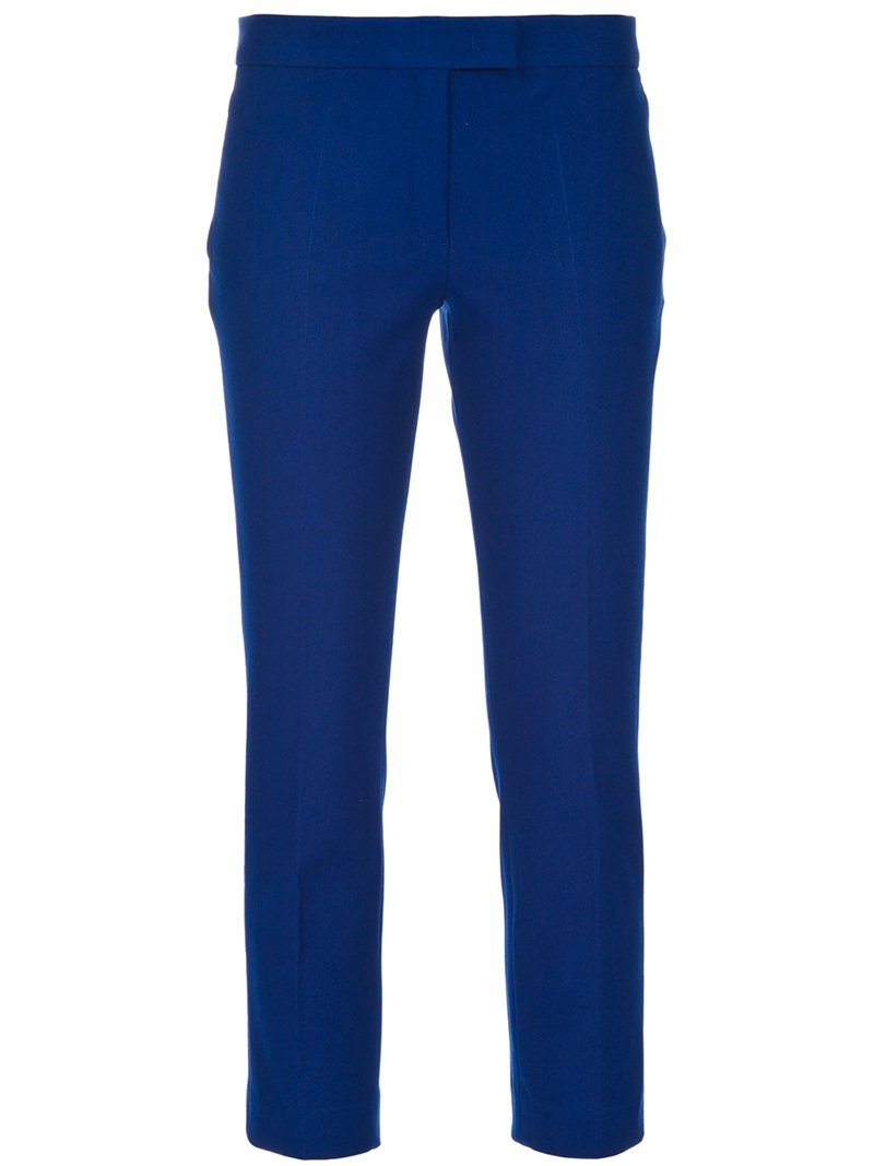 Cropped Trouser - style: capri; pocket detail: small back pockets, pockets at the sides; waist: mid/regular rise; predominant colour: royal blue; occasions: casual, work; length: calf length; fibres: cotton - stretch; trends: brights; fit: slim leg