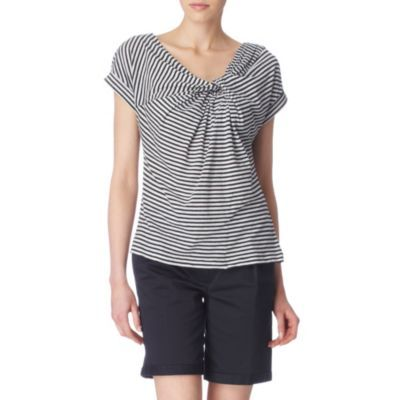 Striped Knot Top - neckline: low v-neck; sleeve style: capped; pattern: horizontal stripes, striped; bust detail: ruching/gathering/draping/layers/pintuck pleats at bust, knot twist front detail at bust; predominant colour: black; occasions: casual, work; length: standard; style: top; fibres: cotton - mix; material texture: jersey; fit: body skimming; trends: prints; sleeve length: short sleeve; pattern type: fabric; pattern size: standard; texture group: jersey - stretchy/drapey